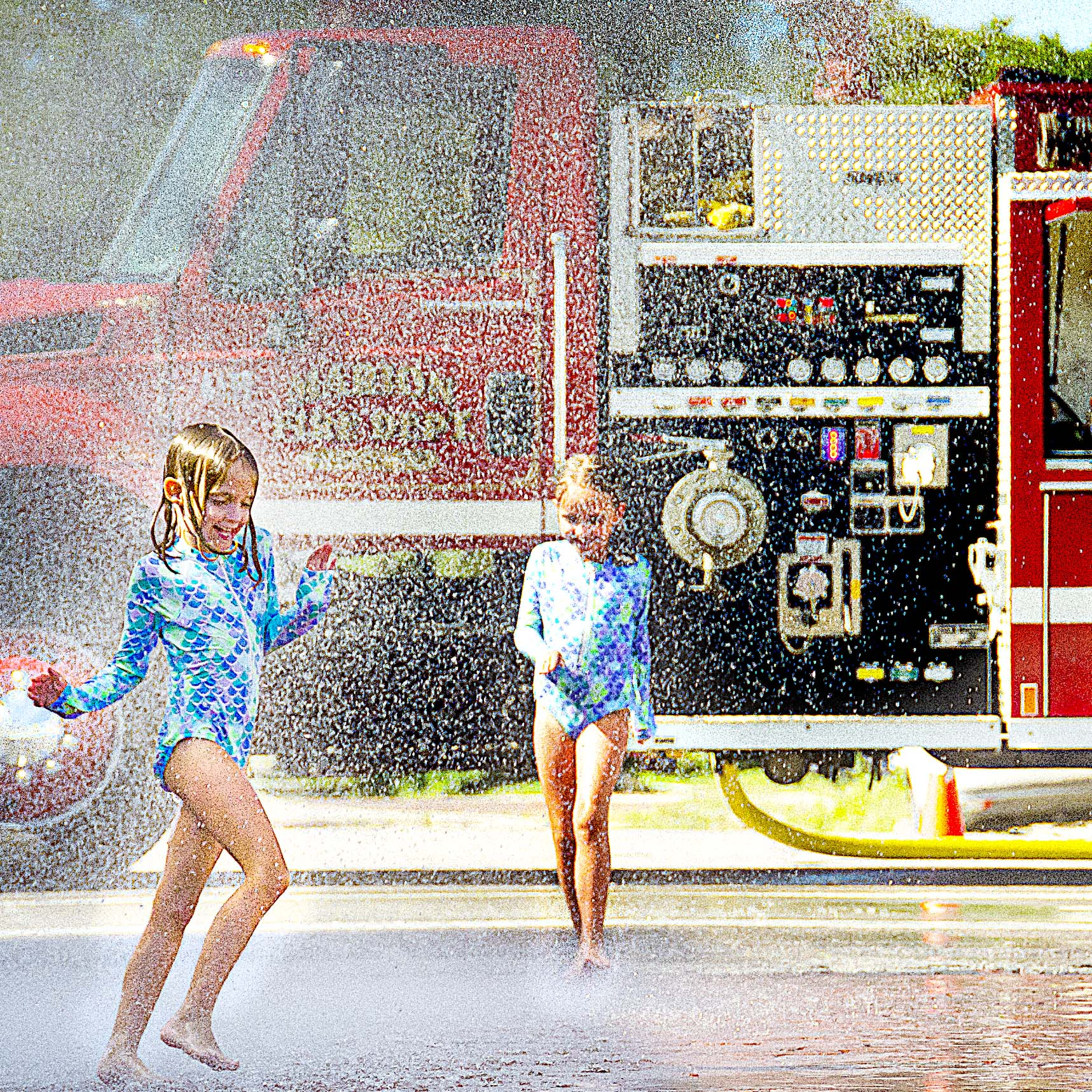 Callie Jones of El Dorado rides a horse with her daughter before the co-ed ranch rodeo Tuesday night at the Marion County fairgrounds arena. Rodeos also will be held at 8 p.m. Wednesday and Thursday at the arena. Also at the arena will be an antique tractor pull will be at 7 p.m. Friday, and the Demolition Derby at  7 p.m. Saturday