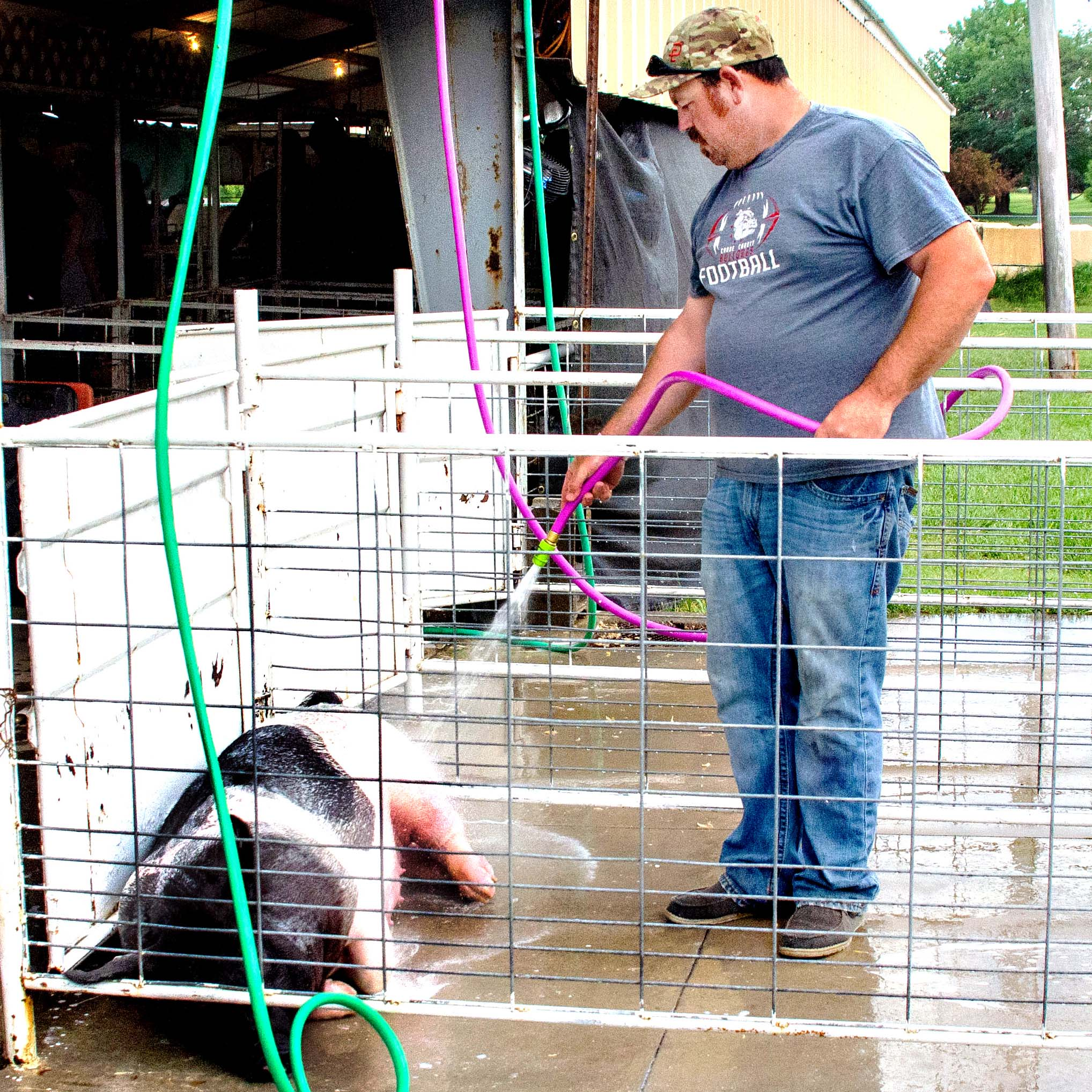 Kollin Klenda, 2, son of Leann and Phillip Klenda, dressed up in cowboy garb for the co-ed ranch rodeo on Tuesday night at the Marion County fairgrounds.